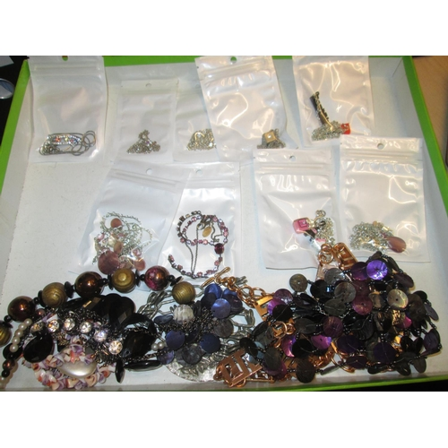 5 - Bag of costume jewellery, some bagged, silver included...