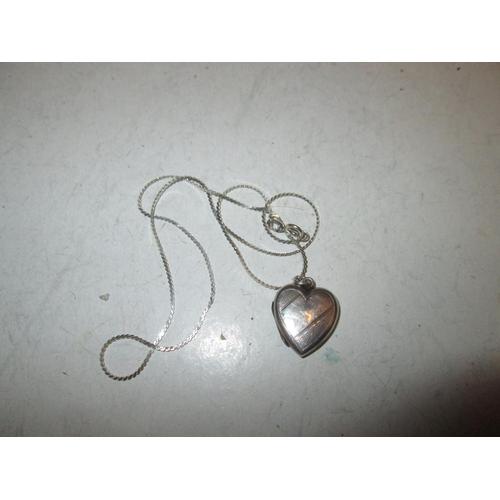 8 - Silver heart shape photograph lock on silver chain...
