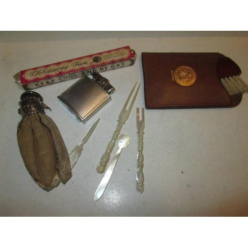 45 - Vintage coin purse, lighter, mother of pearl forks etc....