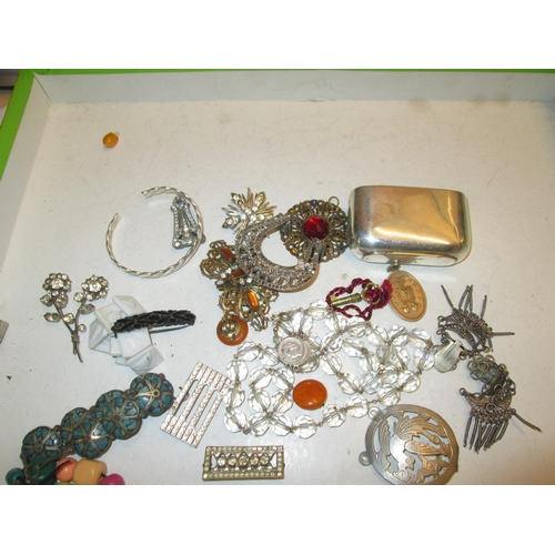 52 - Bag of costume jewellery, lower grade silver included...