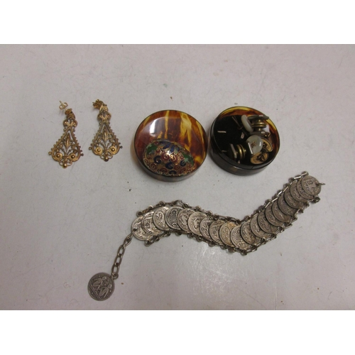 99 - Foreign silver astrological coin bracelet, cloisonne egg, cufflinks and earrings...