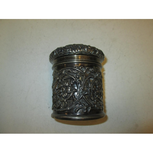117 - Silver lidded and bodied jar with cut glass liner Birm.  1900  Henry Matthews 89 g...