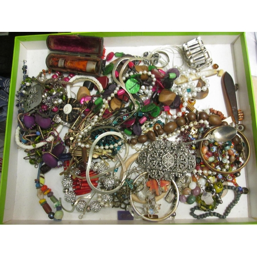 125 - Bag of costume jewellery, small amount of silver included...