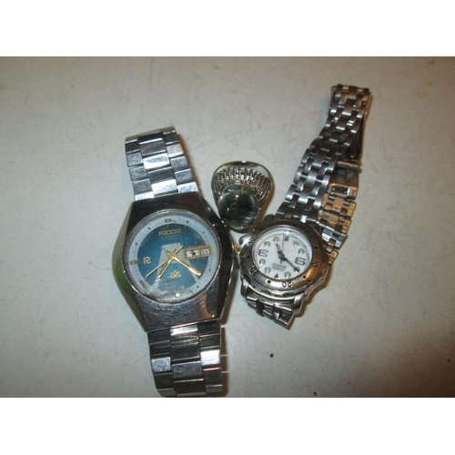 136 - Vintage wristwatch by Riccoh & one other & costume ring...