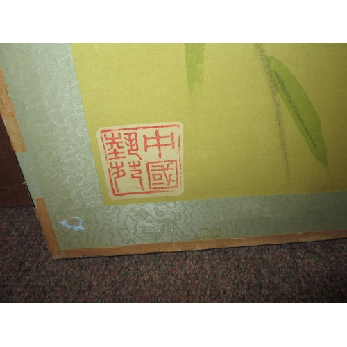 188 - Chinese double sided painting / screen, depicting birds one  side and Interior scene on other 85 cms...