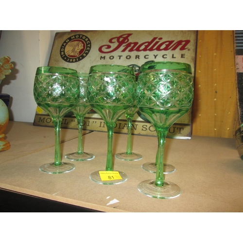190 - Set of six green and clear hock glasses...