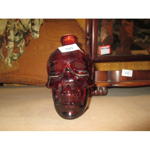 221 - Red glass poison bottle...