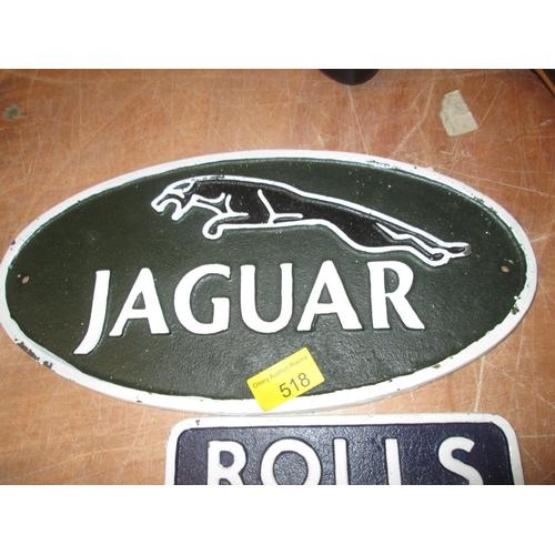 378 - Cast iron advertising sign : Jaguar...