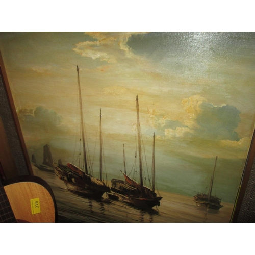 462 - H Cheng modern oil on canvas of a Junk boat...