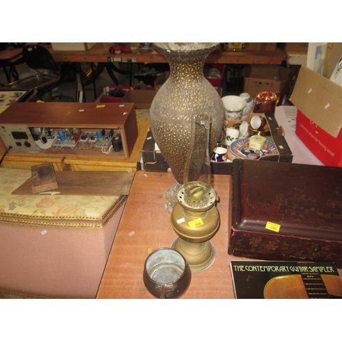 566 - Paraffin lamp, copper pot & Kashmiri papier mache vase...