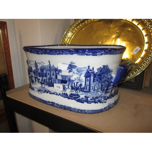 179 - Blue and white transfer print foot bath / jardiniere (larger model)...