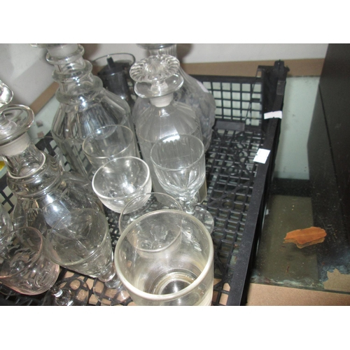 201 - Box of glassware : 19th century and later, decanters and drinking vessels...