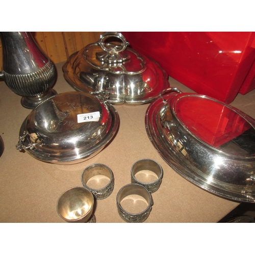 213 - Assorted silver plated tureens, serviette ring etc....