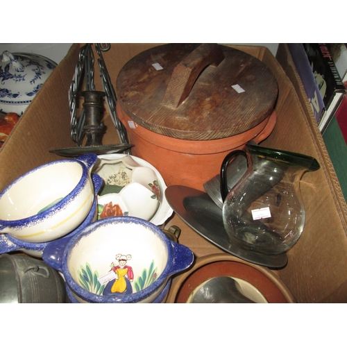 230 - Box of assorted pewter and decorative china, plated chamber stick...