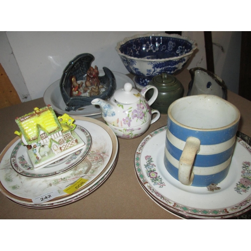 242 - Decorative china : Cornish ware jug, blue and white fruit bowl, Staffordshire pottery cottage etc....