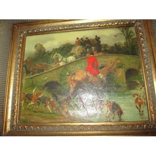 252 - Early 20th century oleograph of a hunting scene in gilded frame...