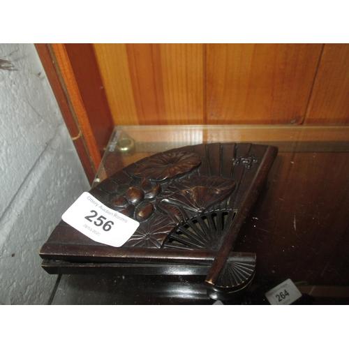 256 - Bronzed metal fan shape box...