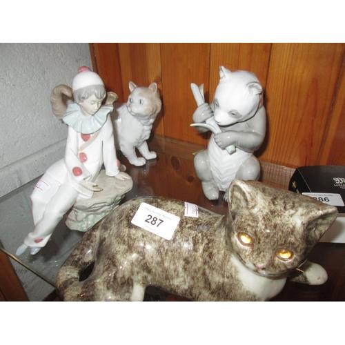 287 - Nao figures : Clown, Cat & Panda & studio pottery cat...