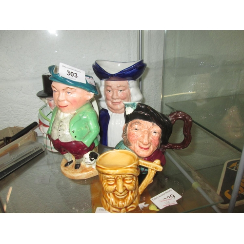 303 - Assorted character jugs...