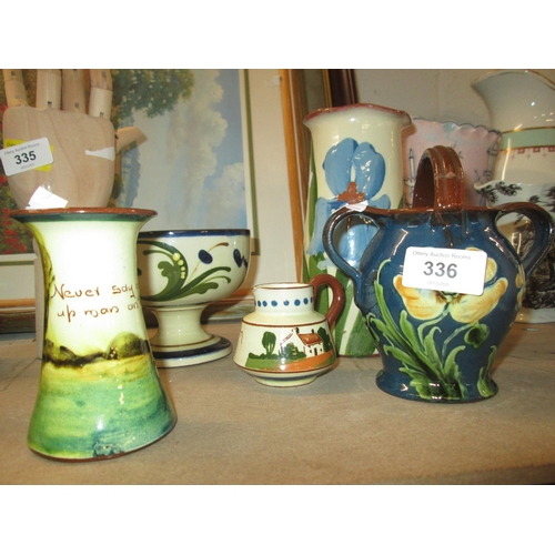 336 - Assorted Torquay ware, Iris vase motto ware etc....