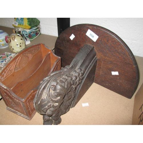 358 - 19th century carved oak wall bracket & letter rack...