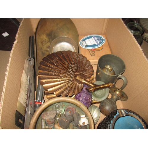 359 - Box of brass and pewter ware, cloisonne ashtrays, glass bottle stops etc....