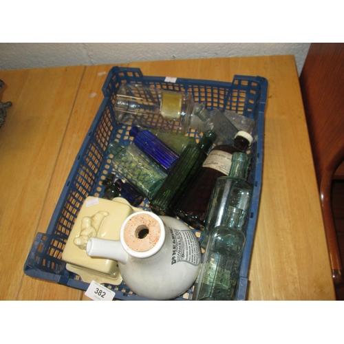 382 - Antique and vintage chemists bottles, Nelsons Inhaler...