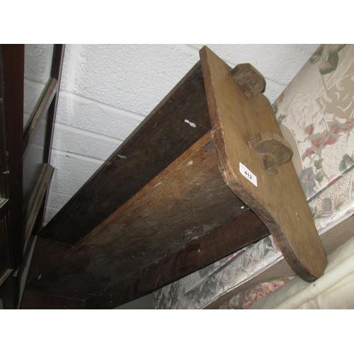 412 - Oak jointed hanging shelves...