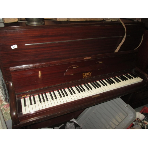 415 - Berry upright mahogany iron frame piano...