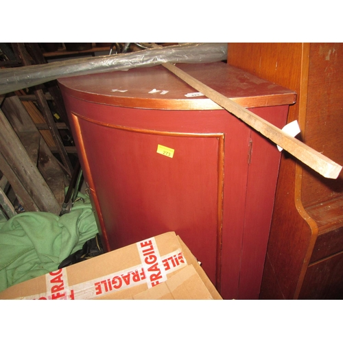 423 - Bow fronted cupboard & fishing rod...