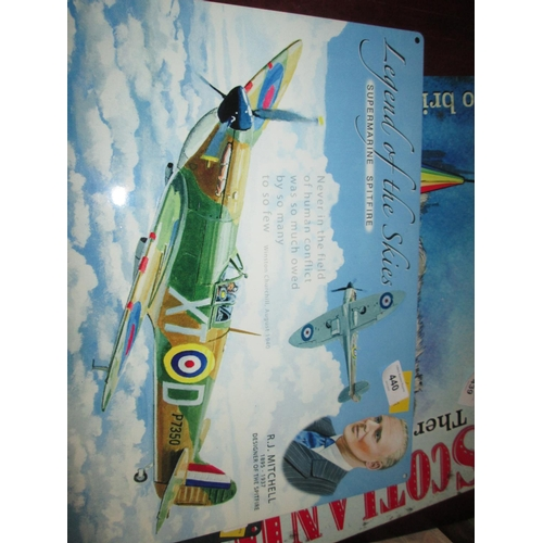 440 - Painted metal sign : Spitfire...
