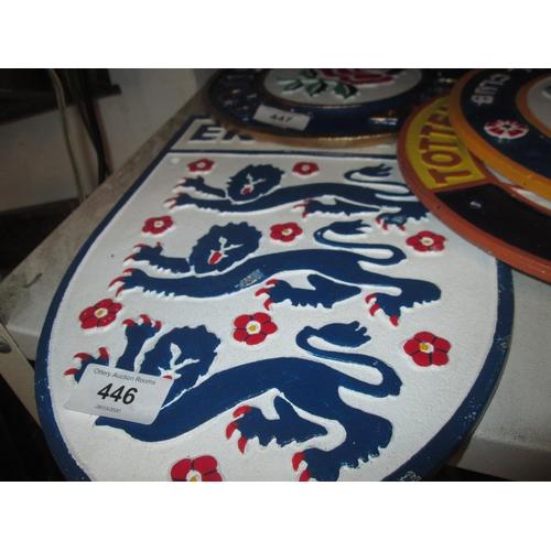 446 - Cast iron sign : England Football...