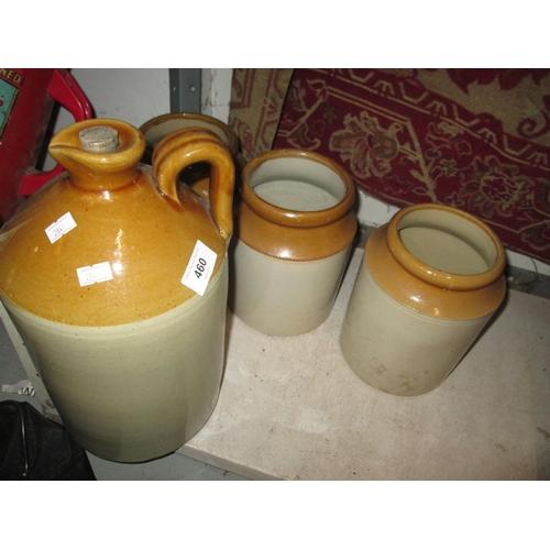 460 - Non advertising flagon and stoneware jars...