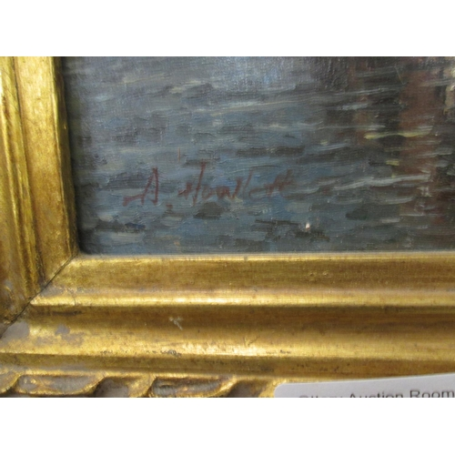 496 - Interesting Dutch oil n canvas in giltwood frame...
