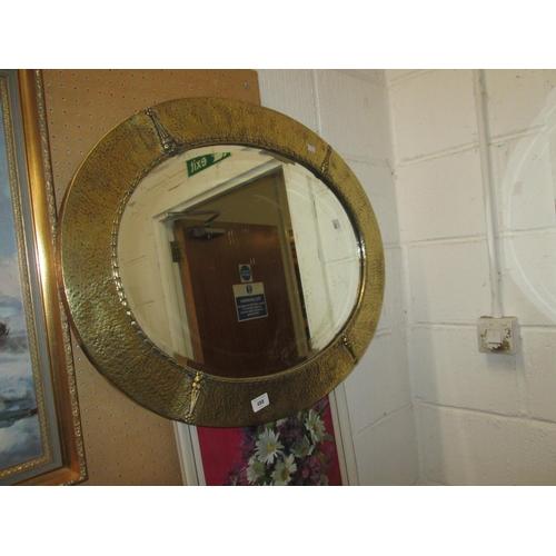 498 - Arts & Crafts brass frame Liberty style mirror...