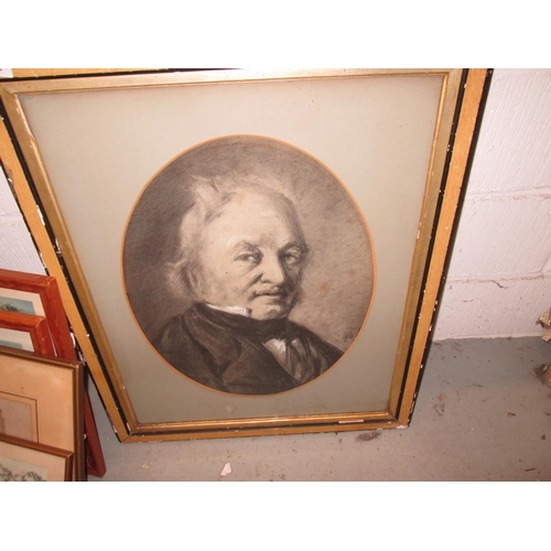502 - Early 20th century charcoal sketch of Gladstone...