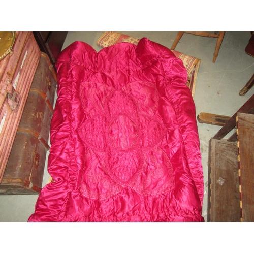 508 - Vintage ruby ground eiderdown...