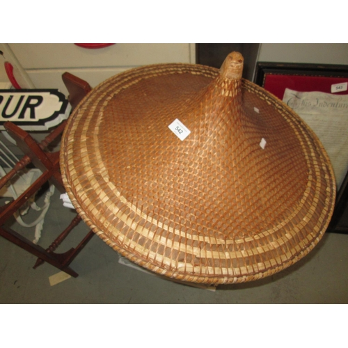 542 - Chinese rattan hat, wicker basket and hanging rack...
