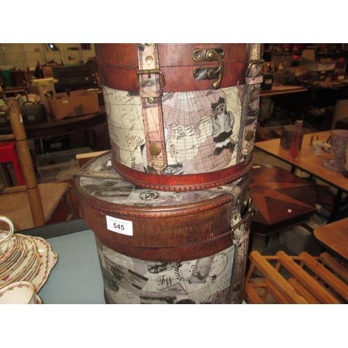 545 - 2 x decorative graduated hat boxes...