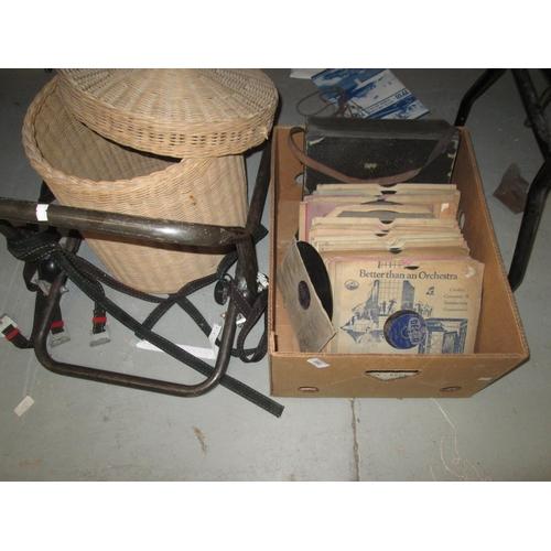 553 - Wicker basket, bike rack and 78 records...