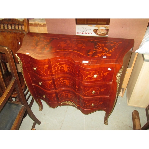 592 - 20th century continental brass mounted serpentine front inlaid chest of drawers...
