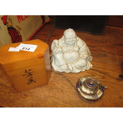 614 - 20th century marble Buddha, Satsuma miniature tea pot & Japanese tea caddy...
