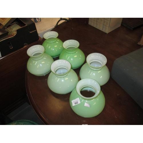 622 - 6 x green glass lamp shades...