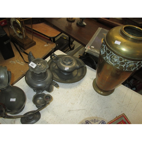 663 - Assorted pewter and brassware...