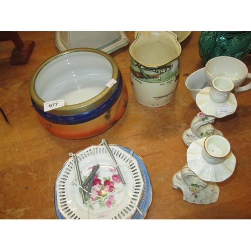 677 - Decorative china : candlesticks, shaving mugs etc....