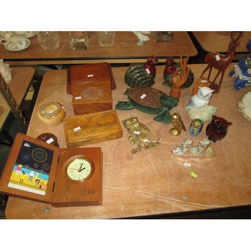 693 - Assorted wooden ware, boxes, cloisonne, owl ornaments etc....