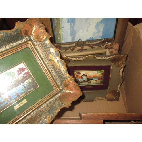 709 - Box of picture frames and pictures...