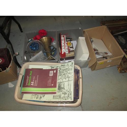 736 - Boxes of games, china, glassware, gunmetal vase...