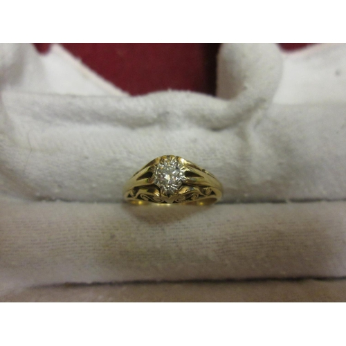 168 - 9 ct gold ring set with single diamond size 57, 4.8 g...