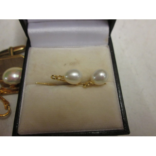 108 - Pair of pearl earrings & cufflinks and simulated pearls...
